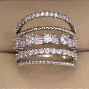 925 STERLING SILVER WHITE SAPPHIRE MULTI BAND RING